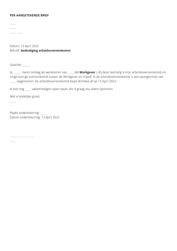 ontslagbrief arbeider Ontslagbrief (werknemer) ontslagbrief arbeider