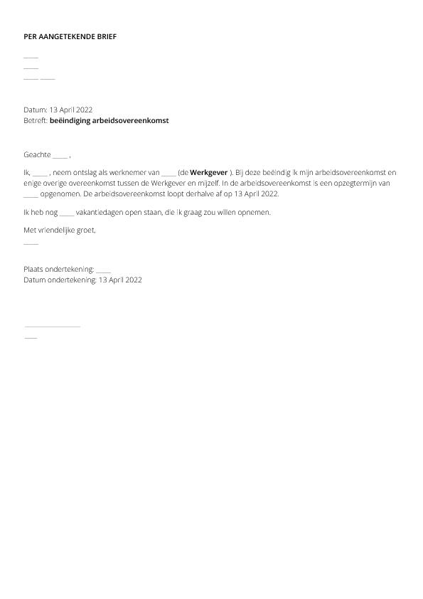 ontslagbrief werknemer Ontslagbrief (werknemer)