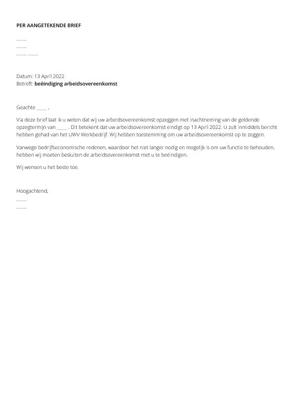 voorbeeld ontslagbrief werknemer engels Ontslagbrief Voorbeeld Werknemer | hetmakershuis