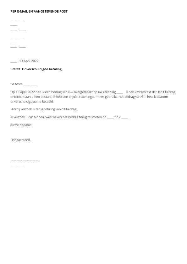 voorbeeldbrief terugvordering geld Brief onverschuldigde betaling   geld verkeerd overgemaakt voorbeeldbrief terugvordering geld